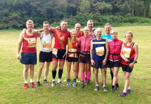 Some of the East Down squad in KIlbroney Park after completion of various distances in the Mourne Way Marathons. L to R Stephen McCartan, Neil Andrews, Raymond Milligan,  Joanne Foster, Davy Foster, Helen Vint, Phillip Vint , Charlie Ataliotis, Mickey Cunningham, Cathy Burke and Clare Carson.