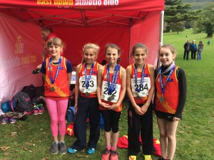 Anna Gardiner, Kirst Foster, Lauren Madine, Lucy Foster and Emily Burns the Silver Medal winning team in the Girls Under 12 race.