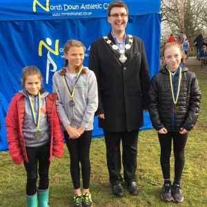 Jodi Foster (left) Zophia Quigley and Chloe Kenny (both Ballyholme Primary)