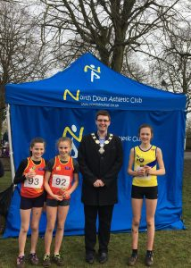 Lucy Foster, Kirsti Foster (left) Tara McDonough (North Down AC)
