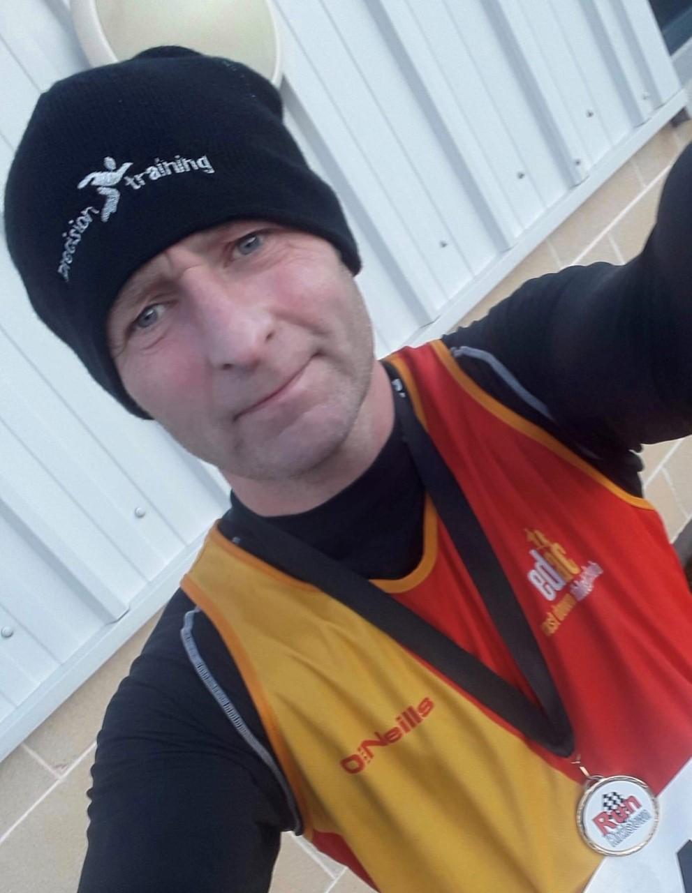0908c8eae58 Paul Lloyd wearing his Run Kirkistown medal - 2nd in the Half Marathon