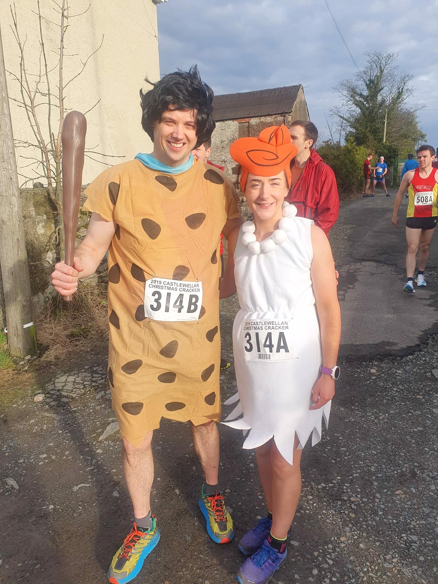 Gavin Hynds and Niamh Kellett as Fred and Wilma Flintstone the Fancy Dress prizewinners